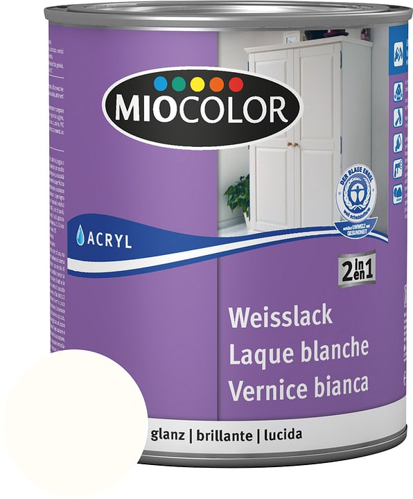 Laque acrylique blanche brillante Blanc pur 750 ml Miocolor 676772000000 Couleur Blanc pur Contenu 750.0 ml Photo no. 1