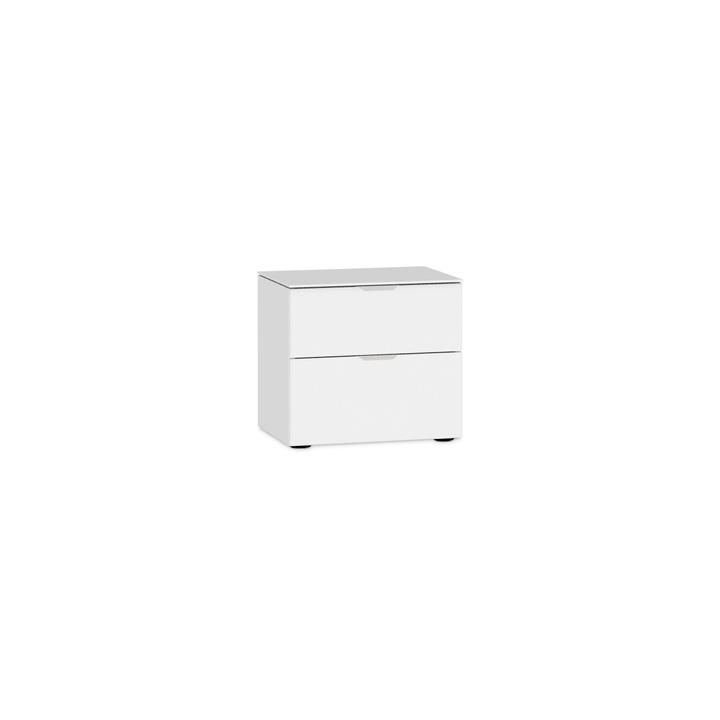 MILO Table de nuit 364150400000 Couleur Blanc, verni brilliant Dimensions L: 45.0 cm x P: 43.0 cm x H: 42.0 cm Photo no. 1
