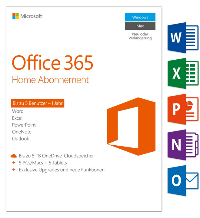 Microsoft Office 365 Home PC/Mac (D) Physique (Box)