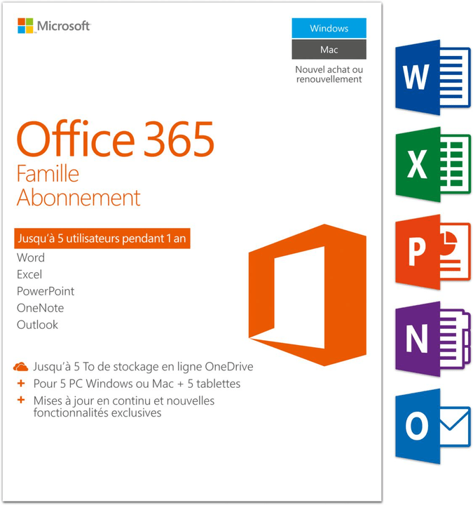 PC/Mac - Office 365 Famille Physique (Box) Microsoft 785300121044 Photo no. 1