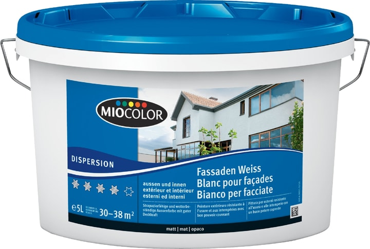 Dispersions pour façades Blanc 5 l Miocolor 660734200000 Couleur Blanc Contenu 5.0 l Photo no. 1