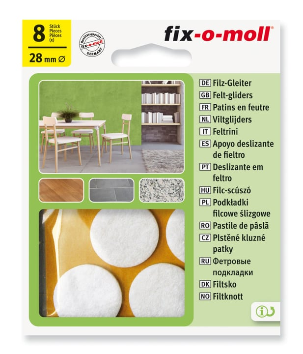 Piedini in feltro 3 mm / Ø 28 mm 8 x Fix-O-Moll 607067600000 N. figura 1