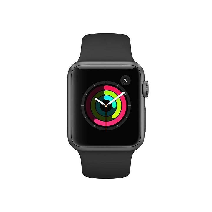Watch Series 1, 38mm Boîtier en aluminium gris sidéral avec Bracelet Sport noir Apple 798145800000 Photo no. 1