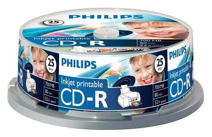 CD-R 700MB Inkjet Printable 25-Pack CD masterizzabili Philips 787242300000 N. figura 1