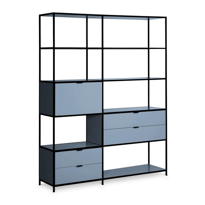 SEVEN Regal Edition Interio 360976200000 Grösse B: 155.0 cm x T: 38.0 cm x H: 189.0 cm Farbe Blau Bild Nr. 1