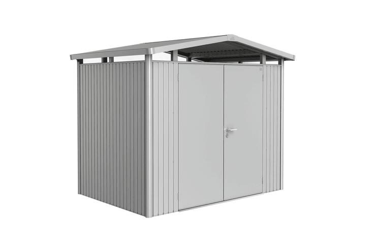 Casetta Panorama P2, porta doppia Biohort 647251700000 Colore Argento-Metallico Copertura di tetto Tetto in lamiera zincata N. figura 1
