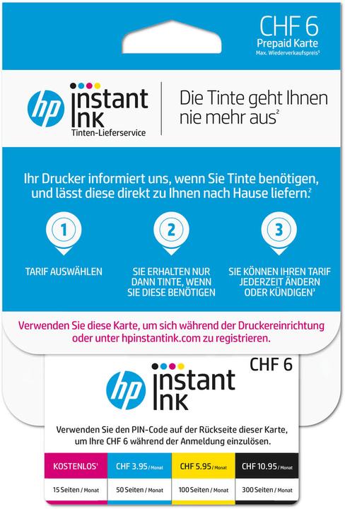 Instant Ink scheda prepagata CHF 6.- (CH - DE) HP 798250100000 N. figura 1