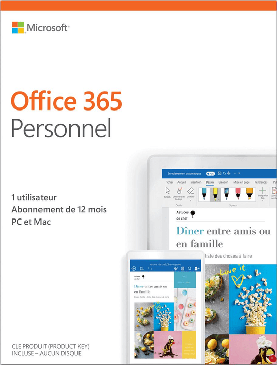 Microsoft office 365 personnel 2019 pc mac f physique - Open office gratuit pour tablette ...