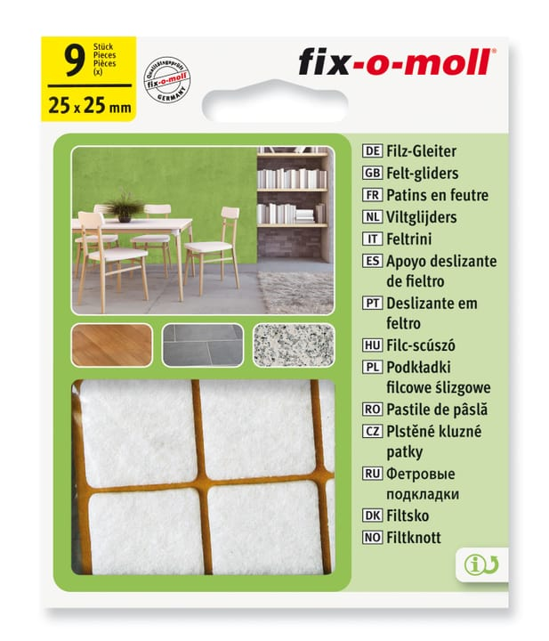 Patins de feutre 3 mm / 25 x 25 mm 9 x Fix-O-Moll 607068300000 Photo no. 1