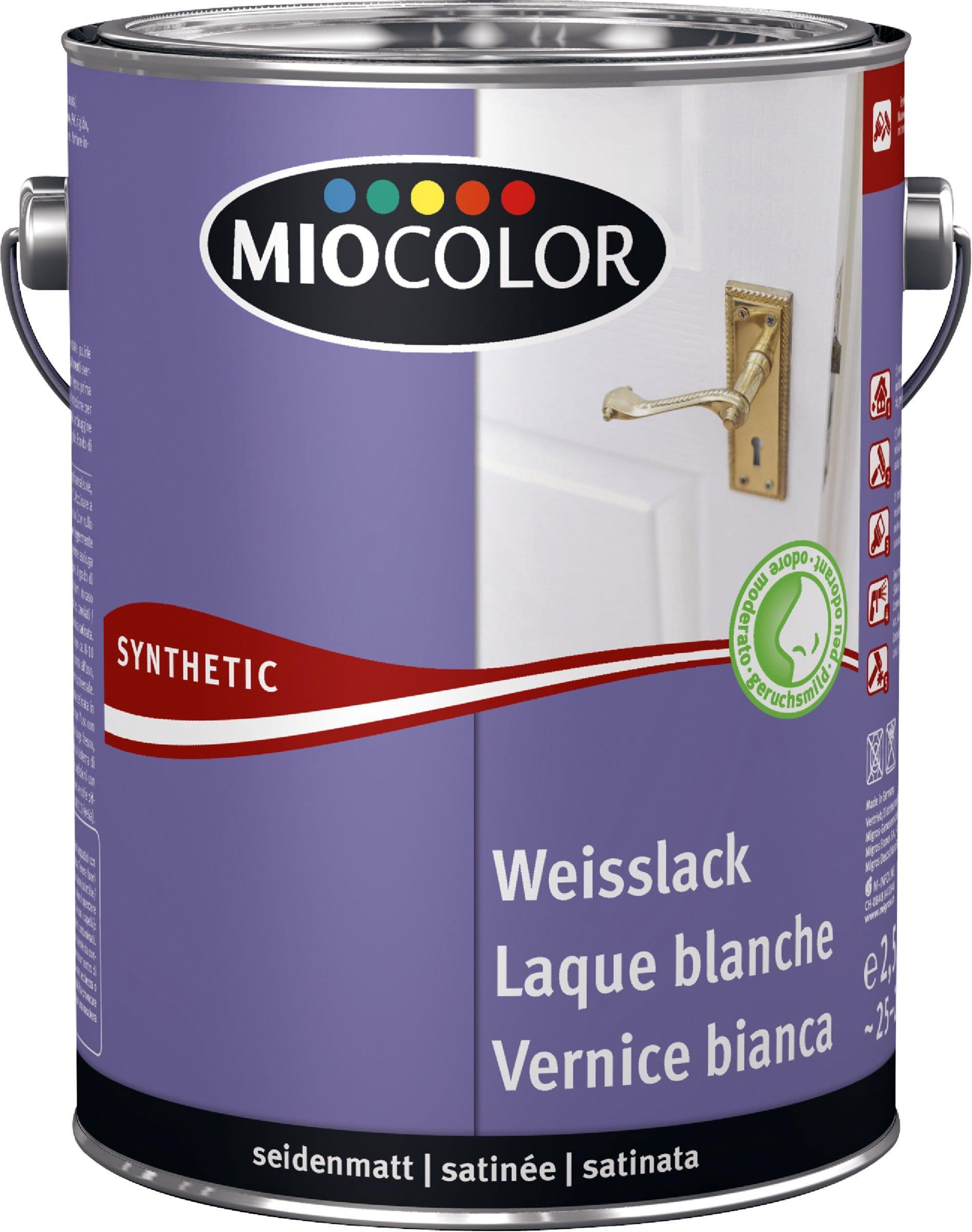 Pittura Resistente Ai Graffi miocolor vernice sintetica bianca satinata opaca bianco 2.5 l