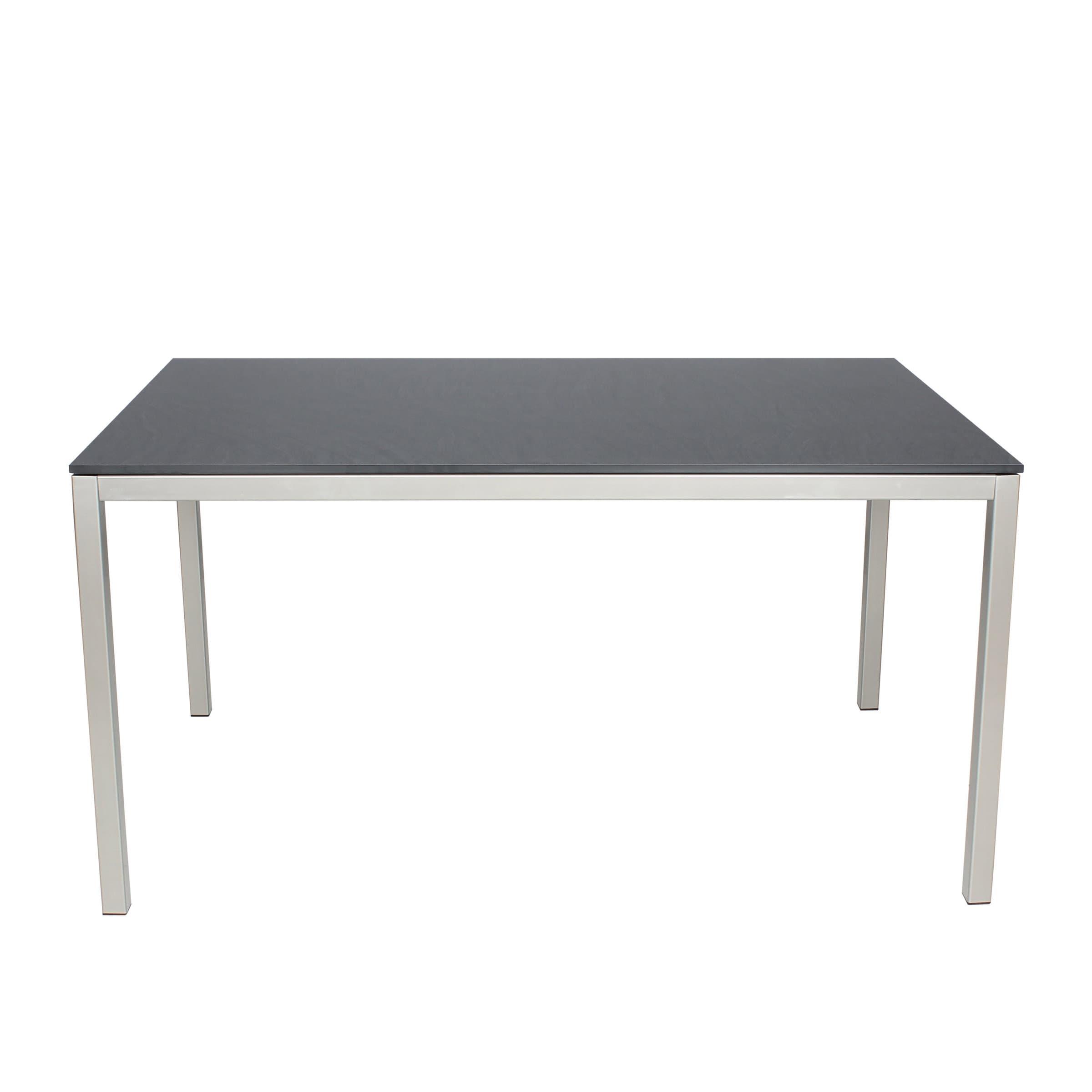 Table locarno avec plateau hpl dark grey 180 cm migros for Plateau table 180