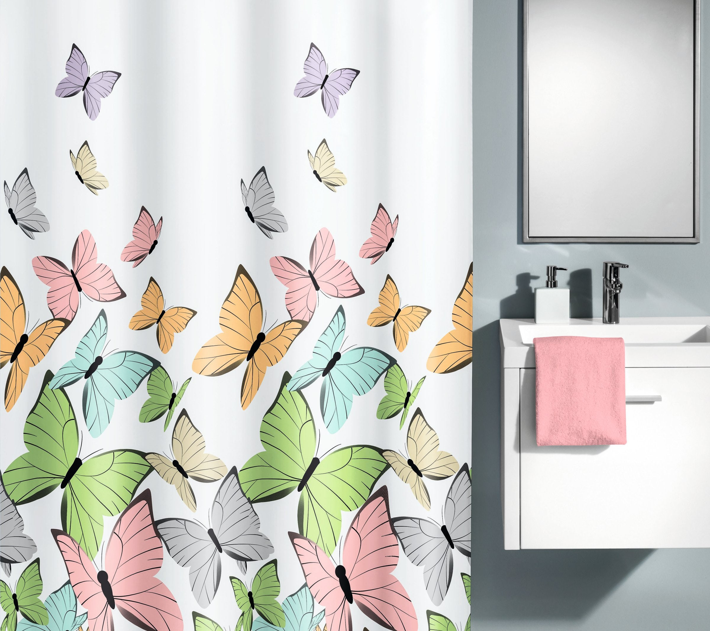 kleine wolke duschvorhang butterflies migros. Black Bedroom Furniture Sets. Home Design Ideas