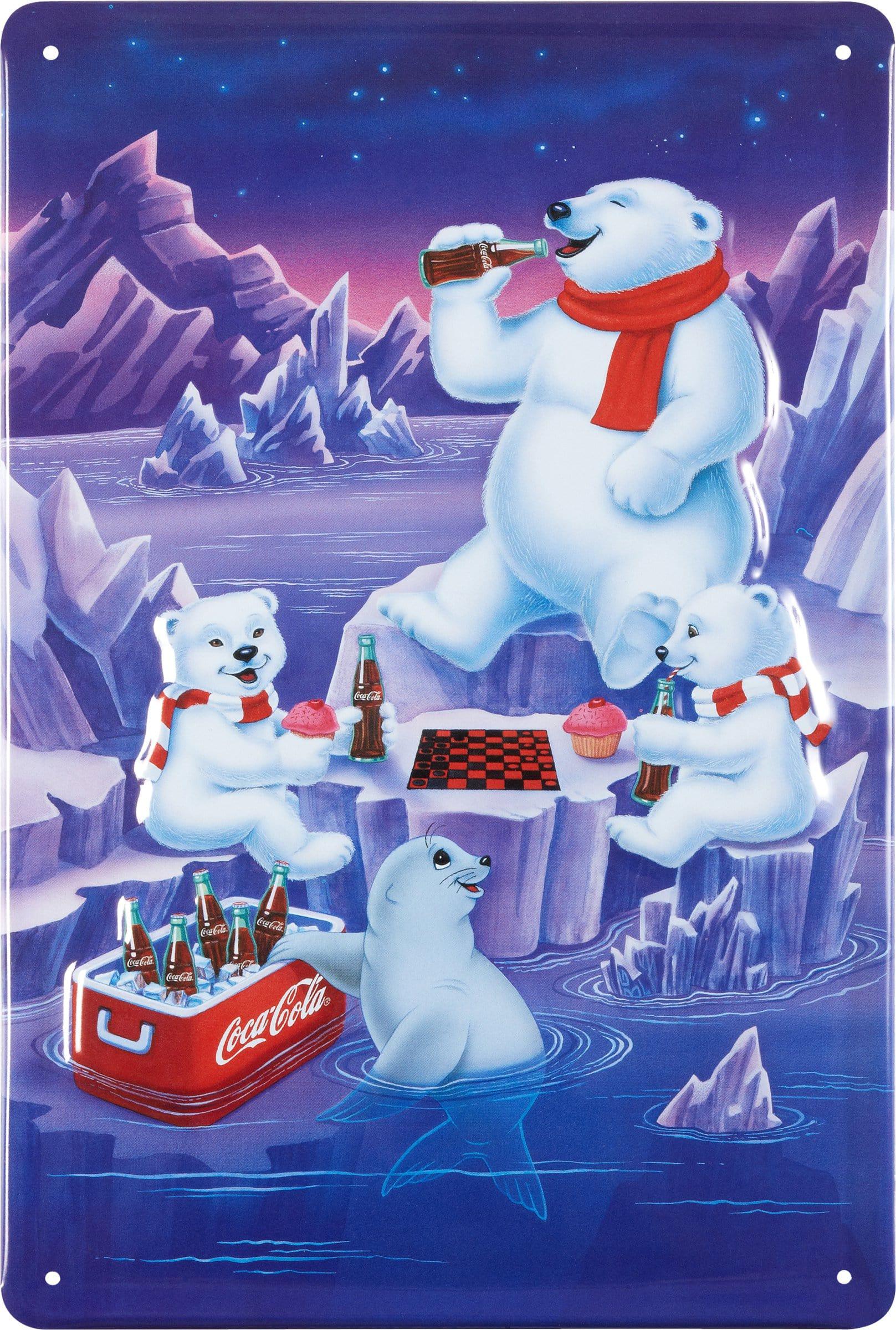 Werbe-Blechschild Coca Cola Eisbären
