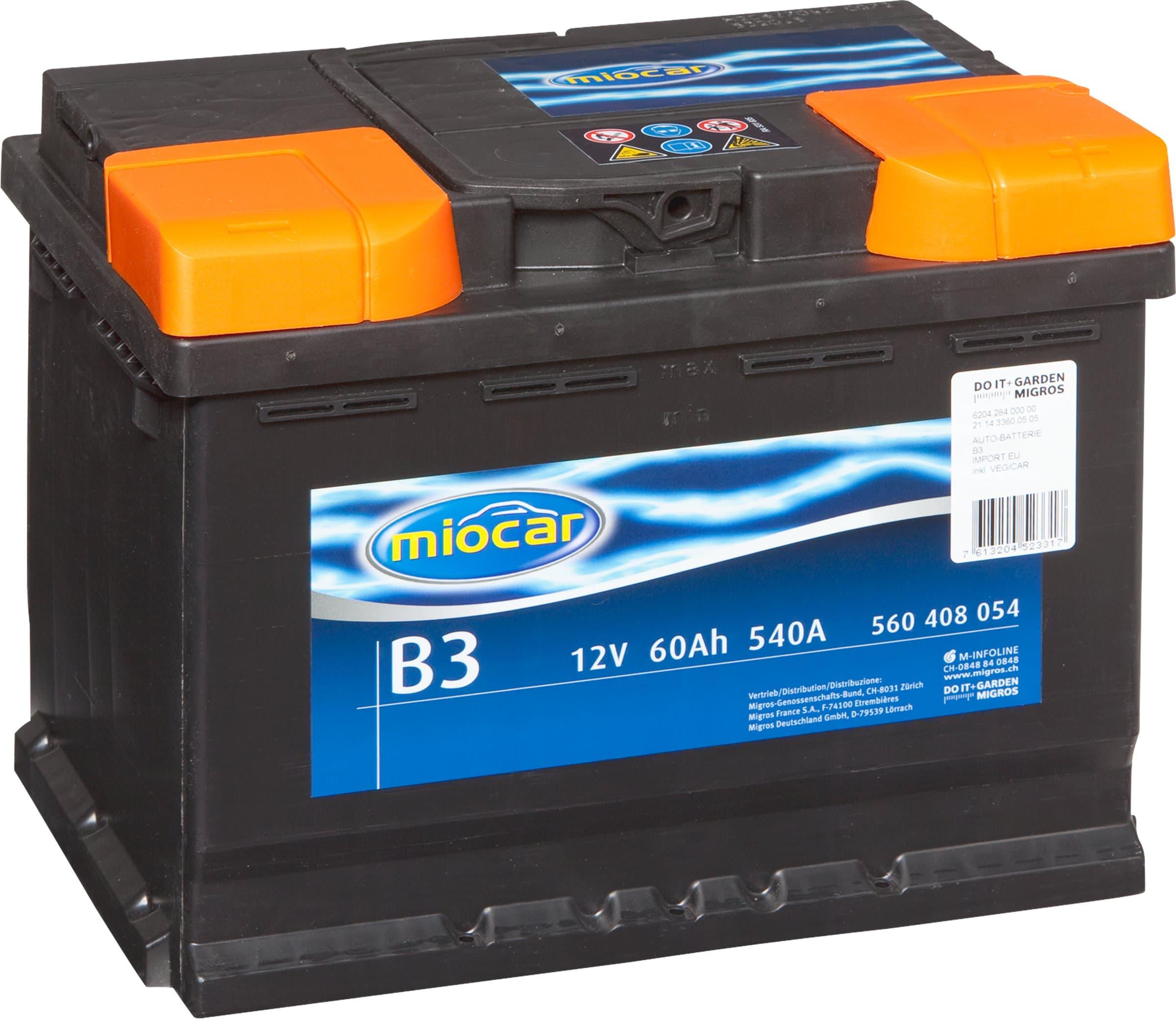 miocar autobatterie b3 12v 60ah 540a migros. Black Bedroom Furniture Sets. Home Design Ideas