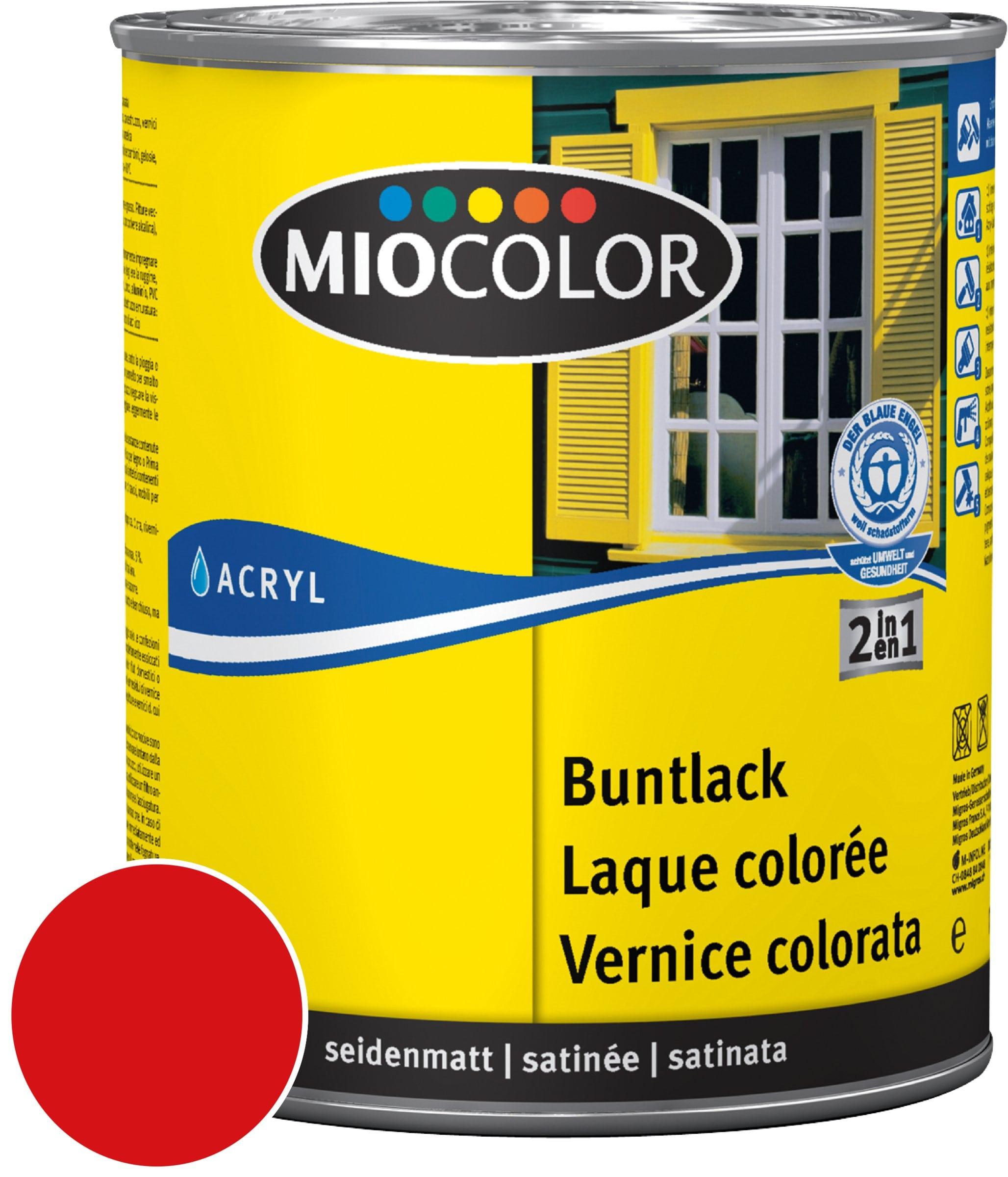 Miocolor Acryl Vernice colorata satinata Rosso fuoco 750 ml