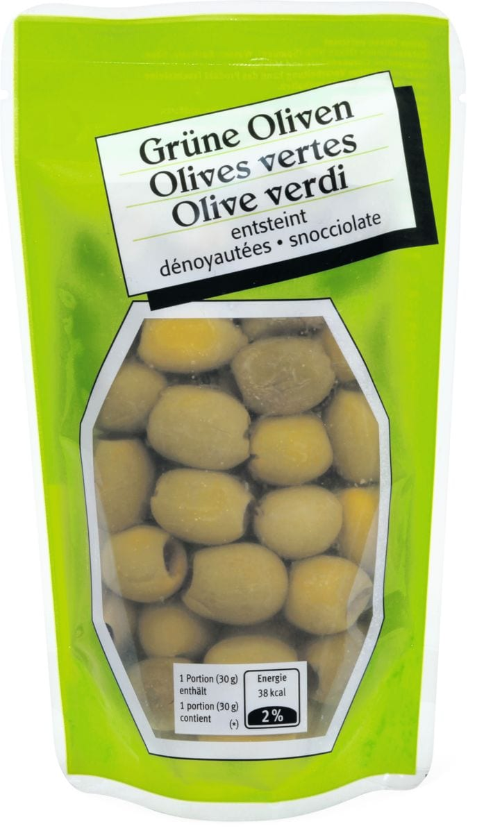 Grüne Oliven entsteint
