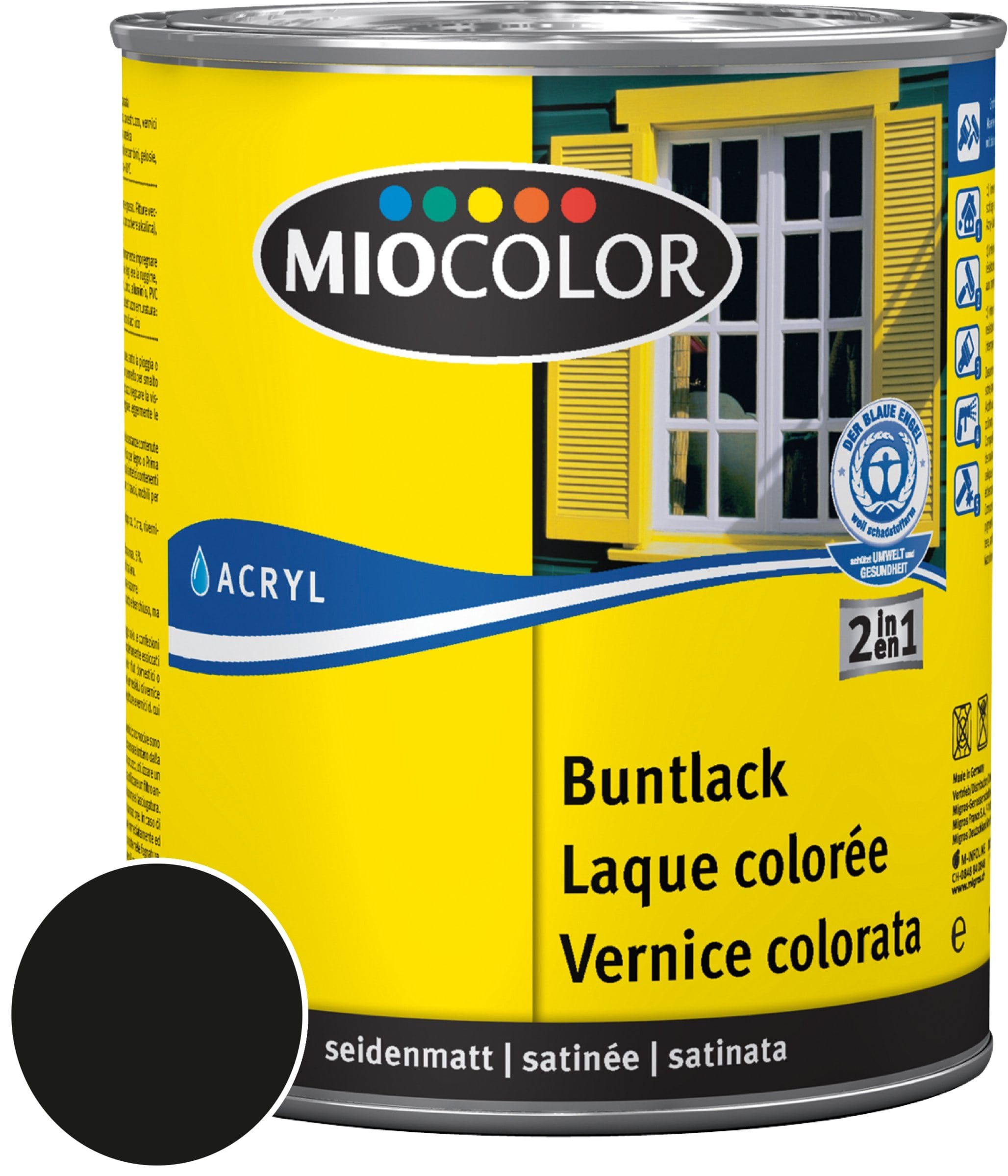 Miocolor Acryl Vernice colorata satinata Nero 750 ml