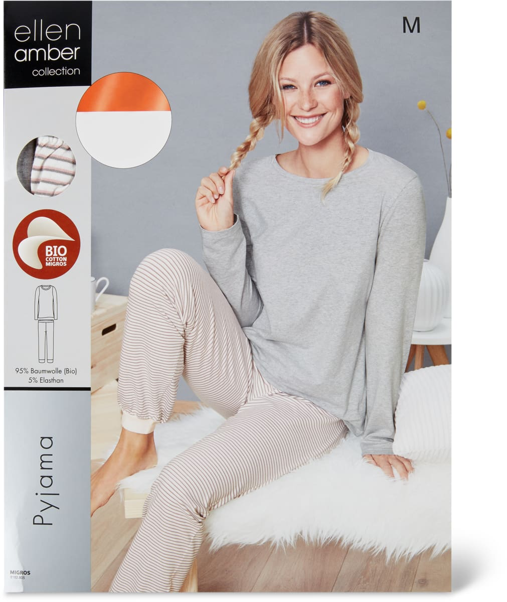 Ellen Amber Damen-Pyjama 2-teilig, Bio Cotton
