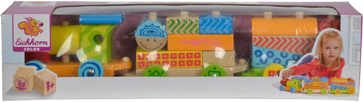 Eichhorn Colori treno di legno, 3 pz. Allena con 17 blocchi di costruzione (FSC®) Macchinine