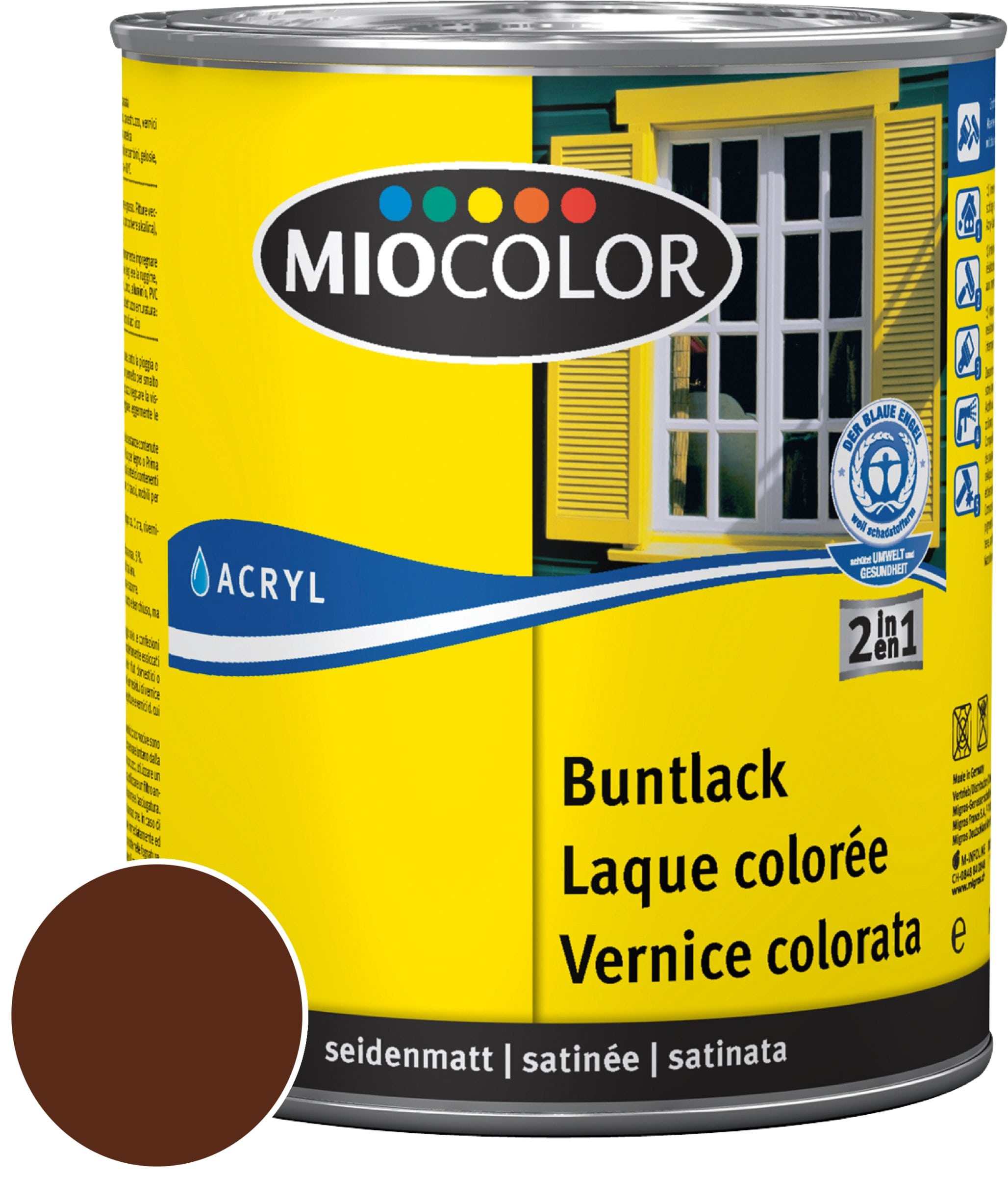 Miocolor Acryl Vernice colorata satinata Marrone cioccolato 750 ml