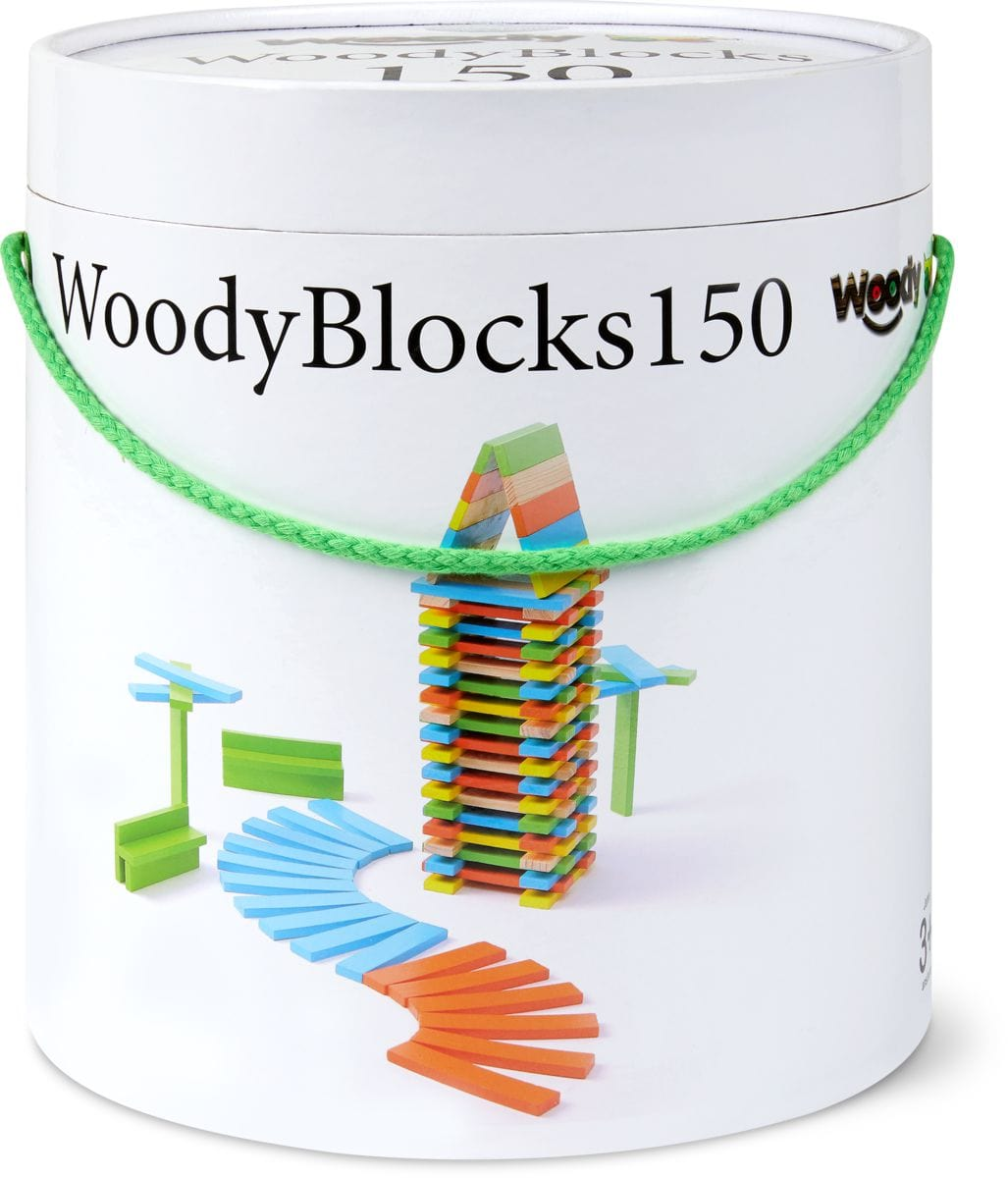 Woody 150 blocs de bois colorés  (FSC®)