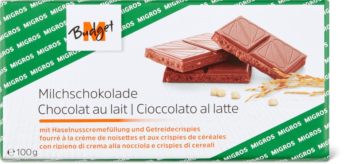 M-Budget Milchsch. Haselnuss&Crispies