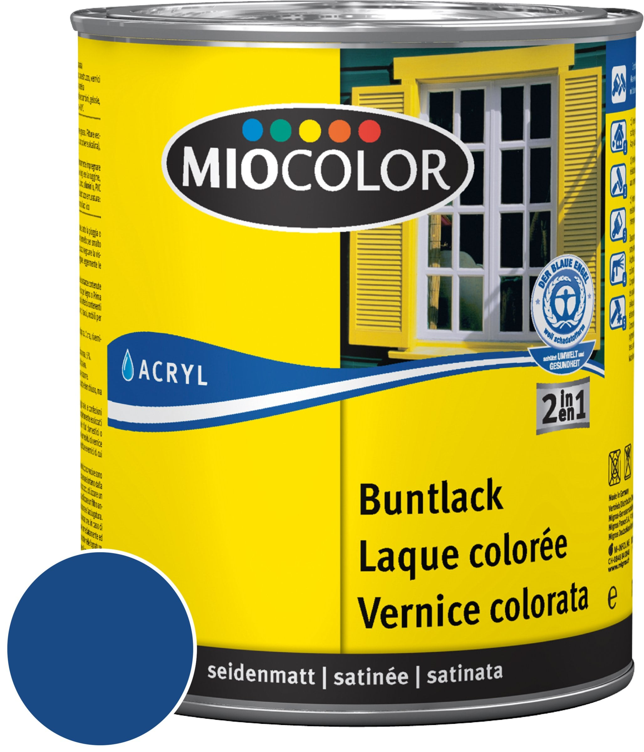 Miocolor Acryl Buntlack seidenmatt Enzianblau 125 ml