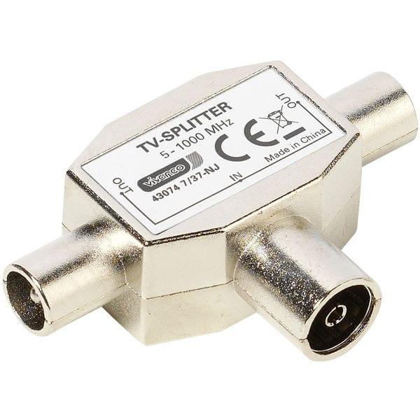 Vivanco Antennen-Verteiler Koax-Kupplung Antennen Splitter