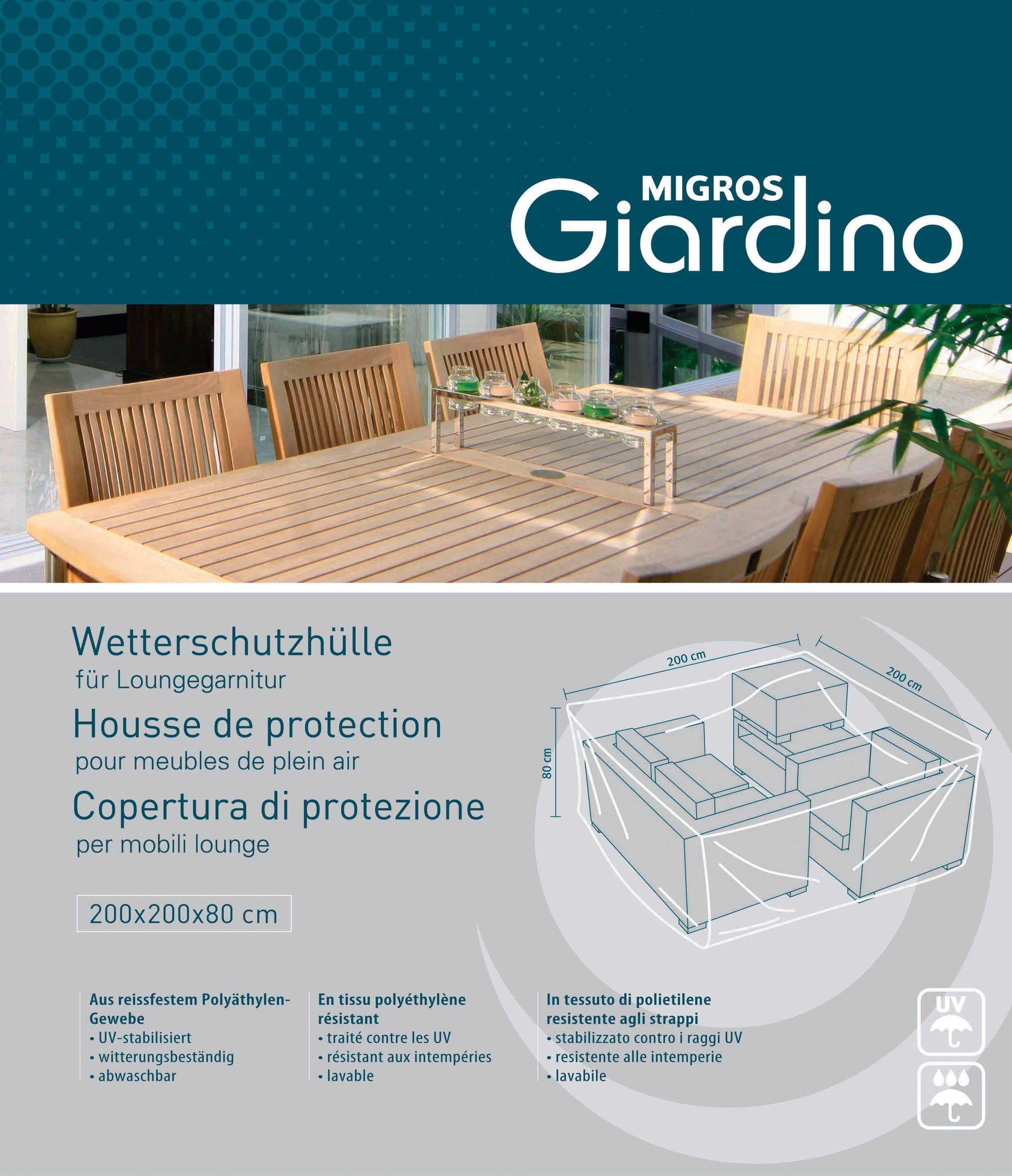 Housse de protection pour salon de plein air migros for Salon hotellerie de plein air