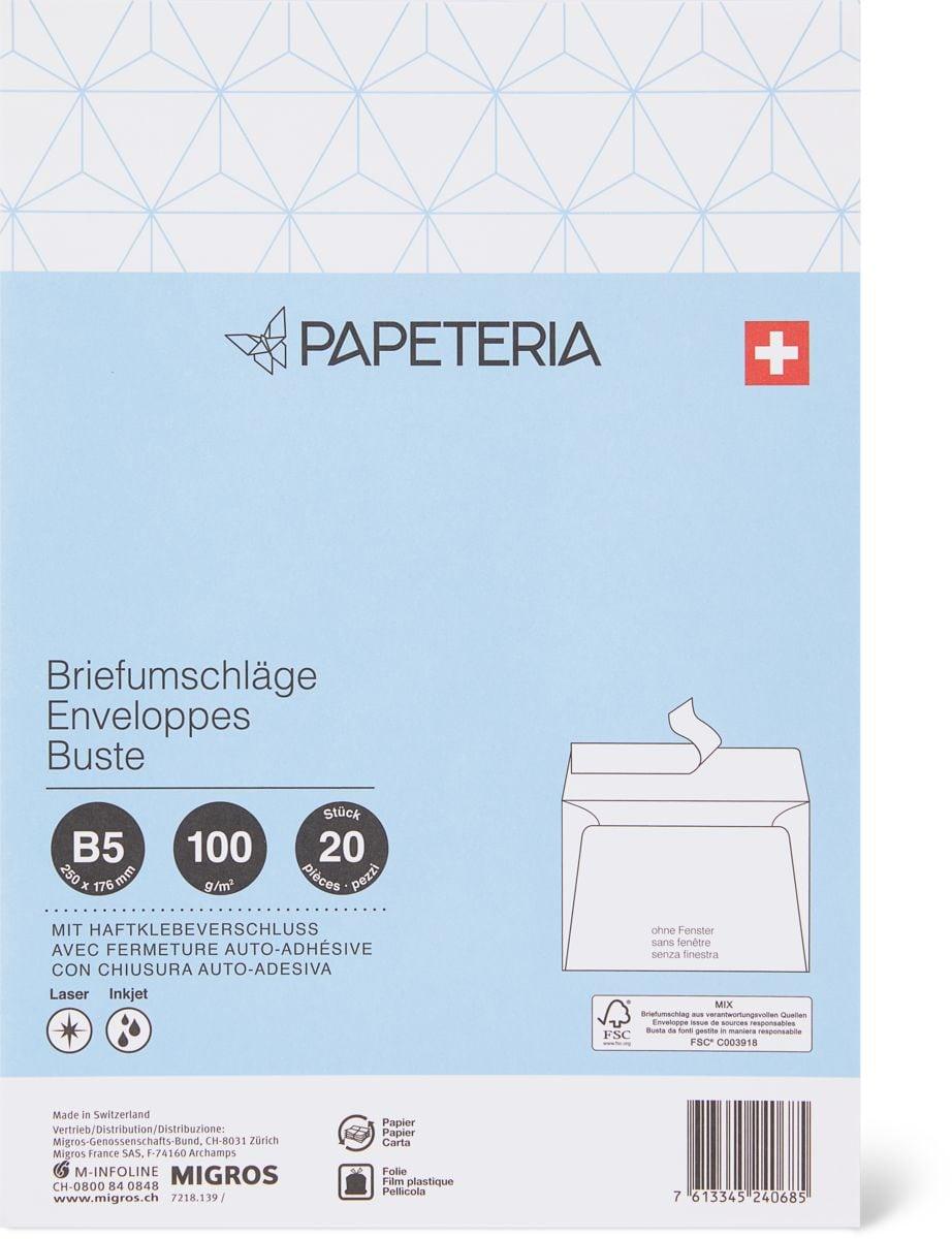Papeteria B5 Briefumschläge ohne Fenster