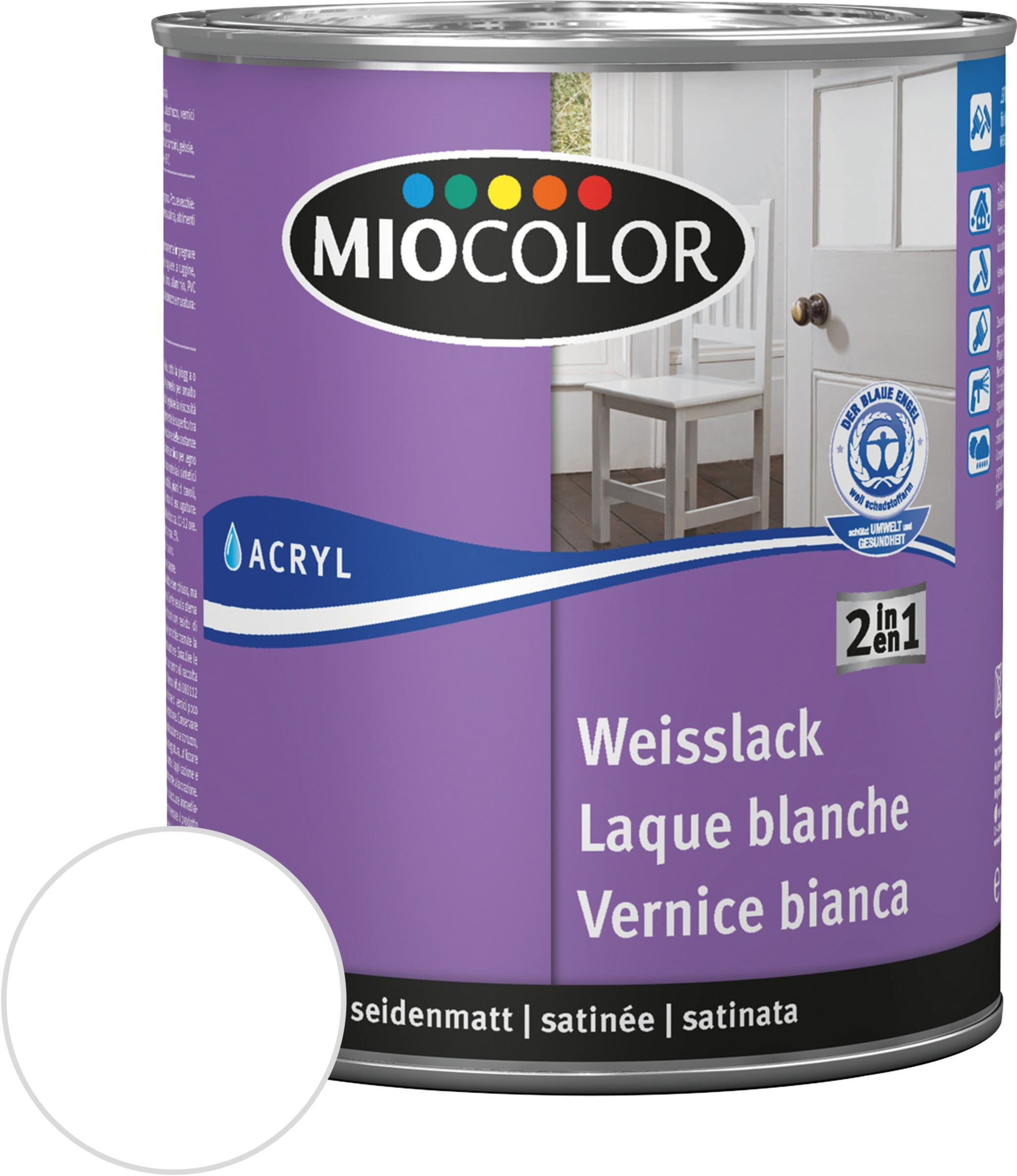 miocolor acryl weisslack seidenmatt migipedia. Black Bedroom Furniture Sets. Home Design Ideas