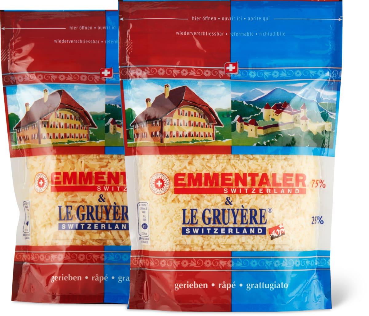 Emmentaler & Le Gruyère Reibkäse, AOP
