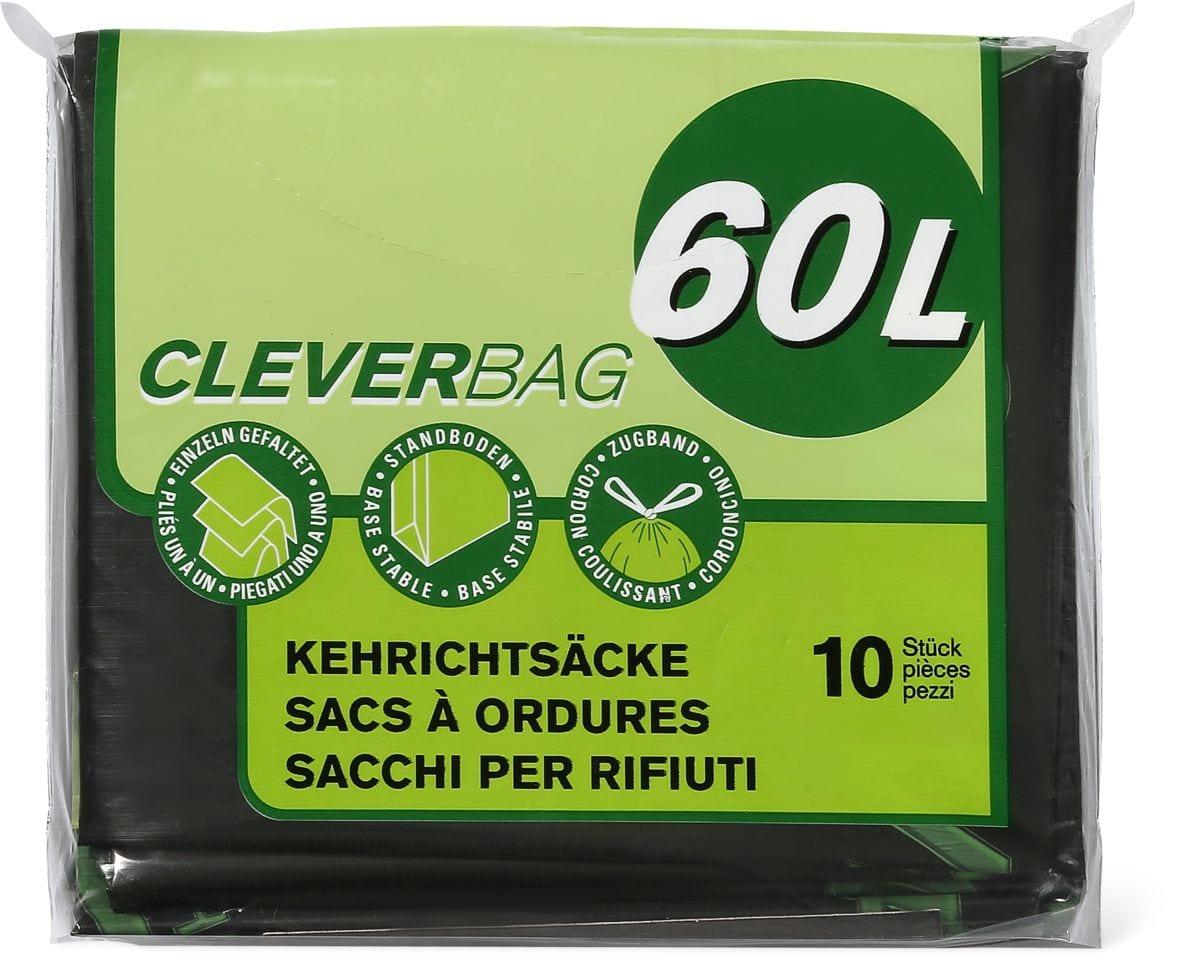 Sacchi per i rifiuti piegati Cleverbag, 60 l