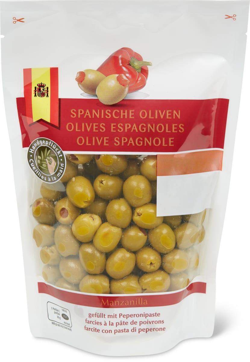 Spanische Oliven gefüllt mit Peperonipaste
