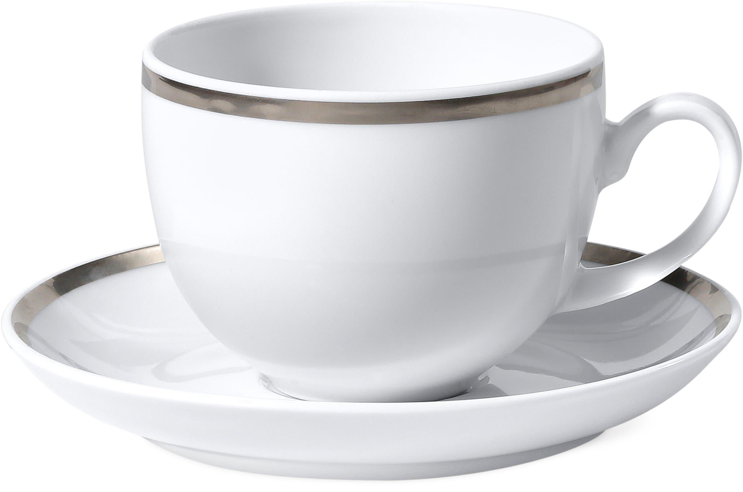 Kaffeetasse mit Unterteller PLATINUM