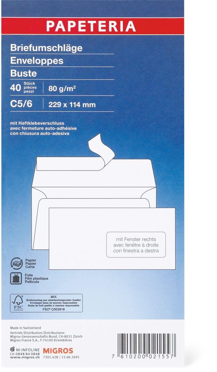 Papeteria C5/6 Briefumschläge mit Fenster rechts