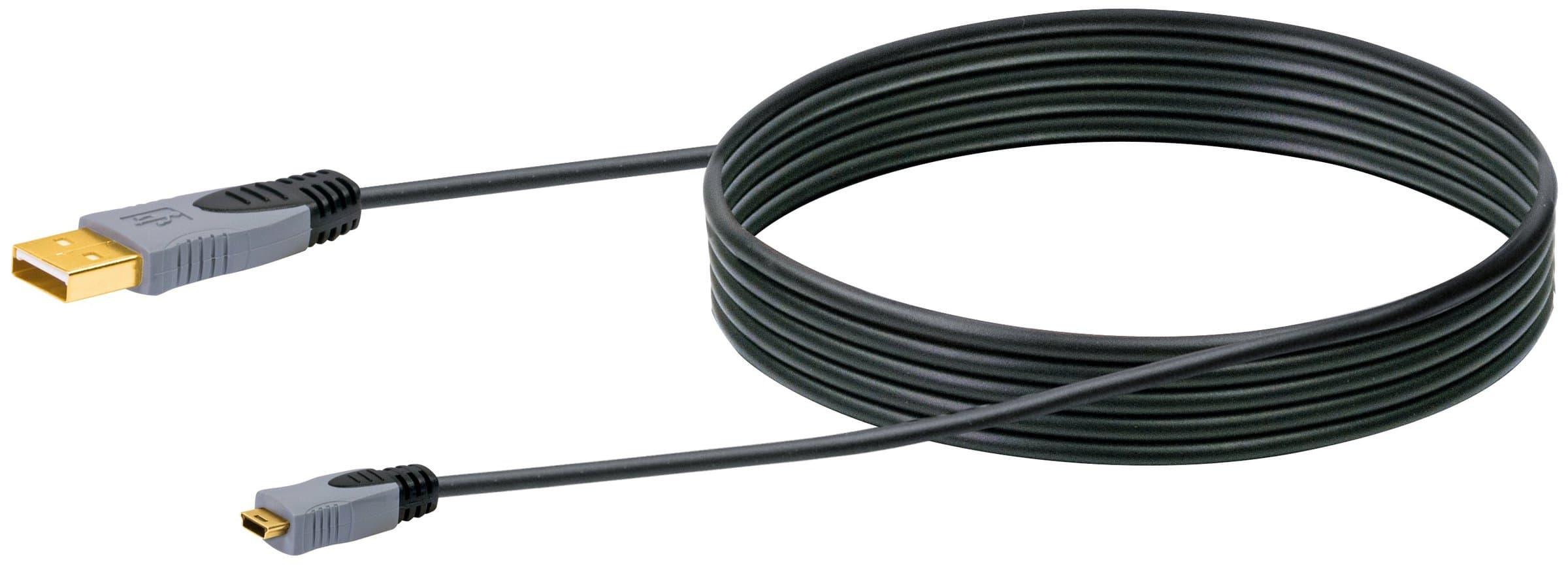 Schwaiger Cable USB 2.0 HQ 2m noir, USB 2.0 typeA / Mini-USB