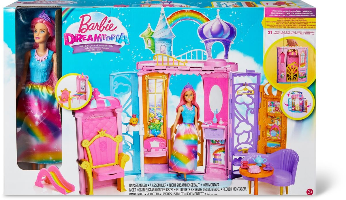 barbie dreamtopia regenbogen k nigreich schloss und puppe. Black Bedroom Furniture Sets. Home Design Ideas