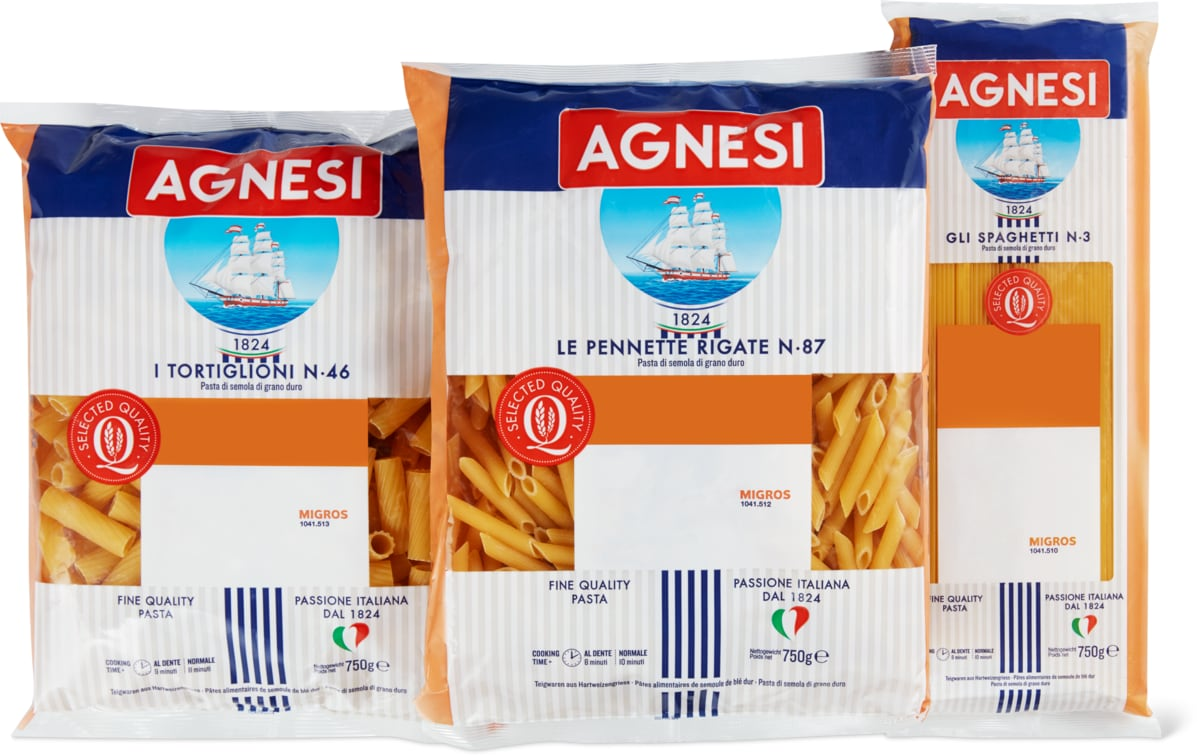 Agnesi-Pennette Rigate, -Spaghetti oder -Tortiglioni