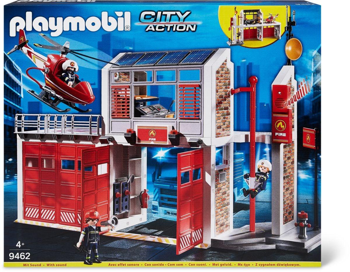 Caserne de pompiers avec hélicoptère