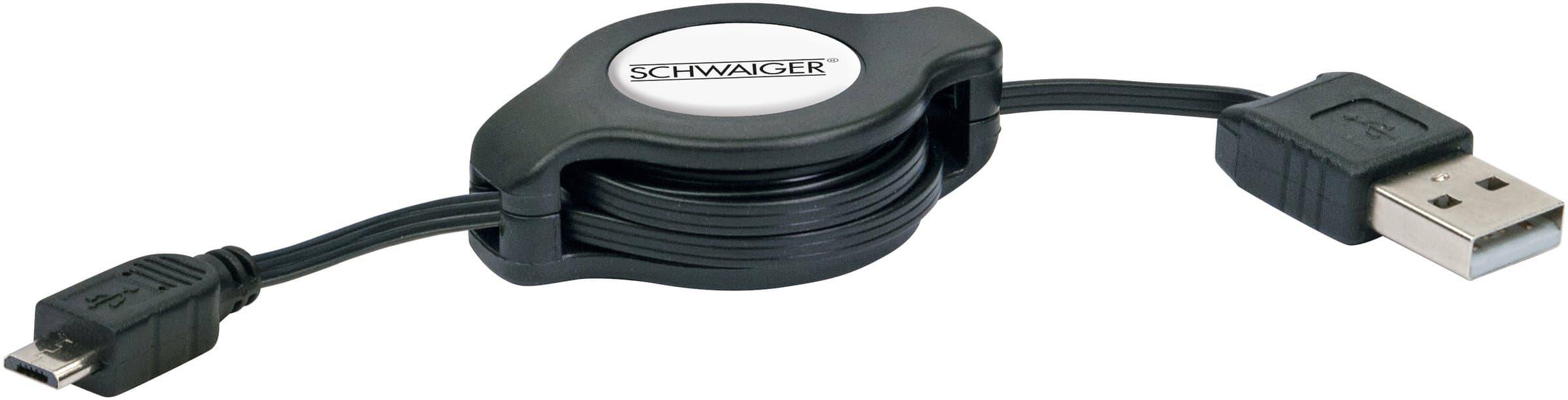 Schwaiger Cable USB 2.0 encaissable 1.2m noir, USB 2.0 typeA / Micro-USB