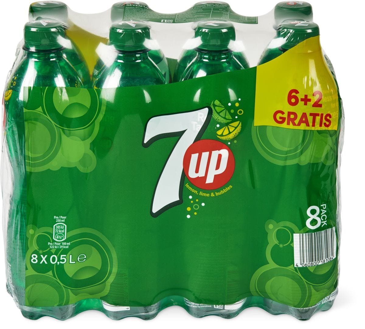 7up Regular und 7up Free im 8er-Pack, 8 x 50 cl
