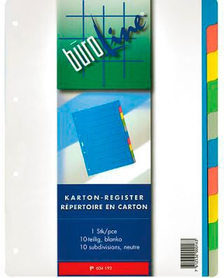 Büroline Registro cartone multicolor A4 604192 10 pezzi Registro cartone