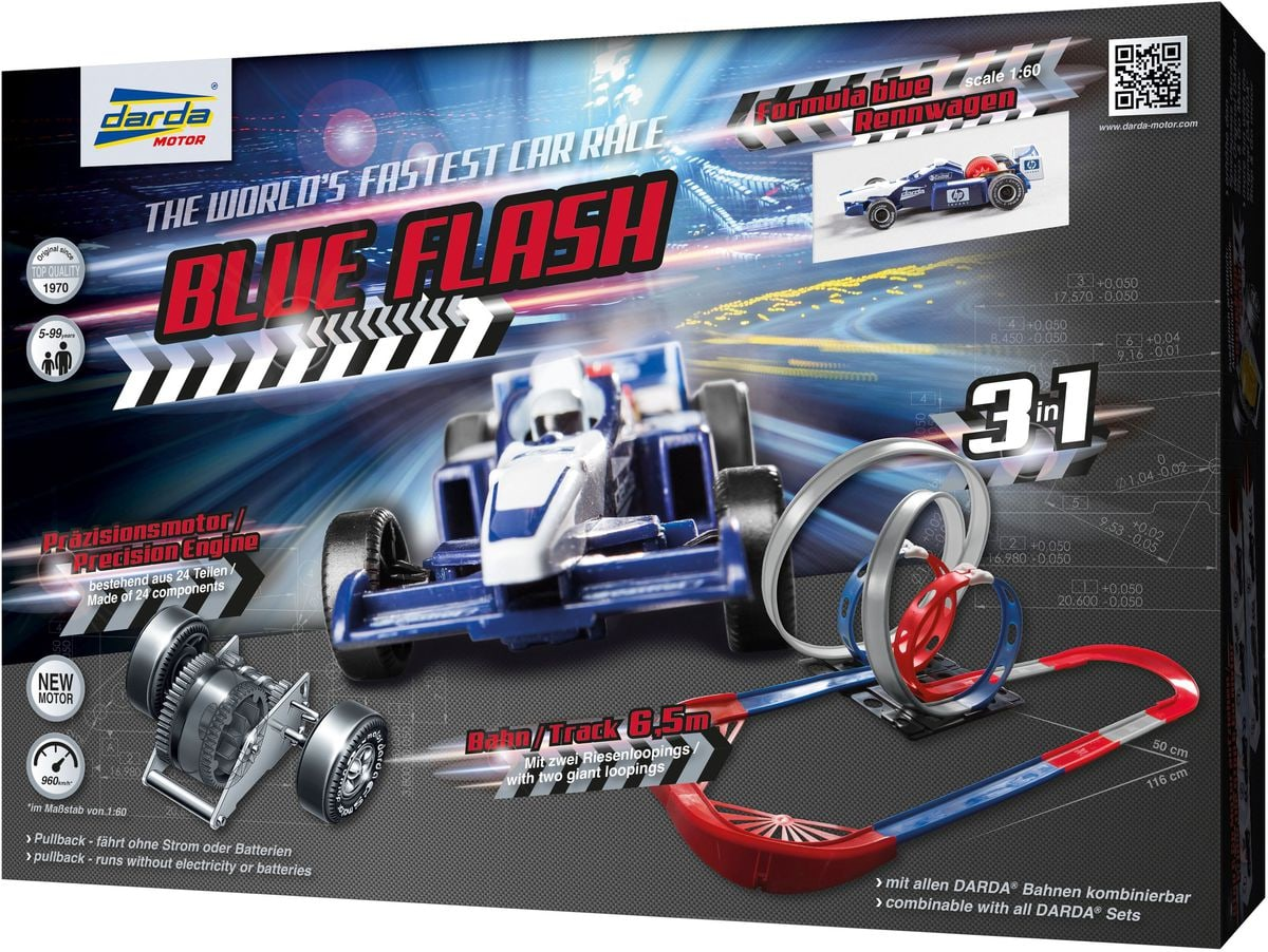 Circuit Blue Flash Darda 1 voitures de course incluses