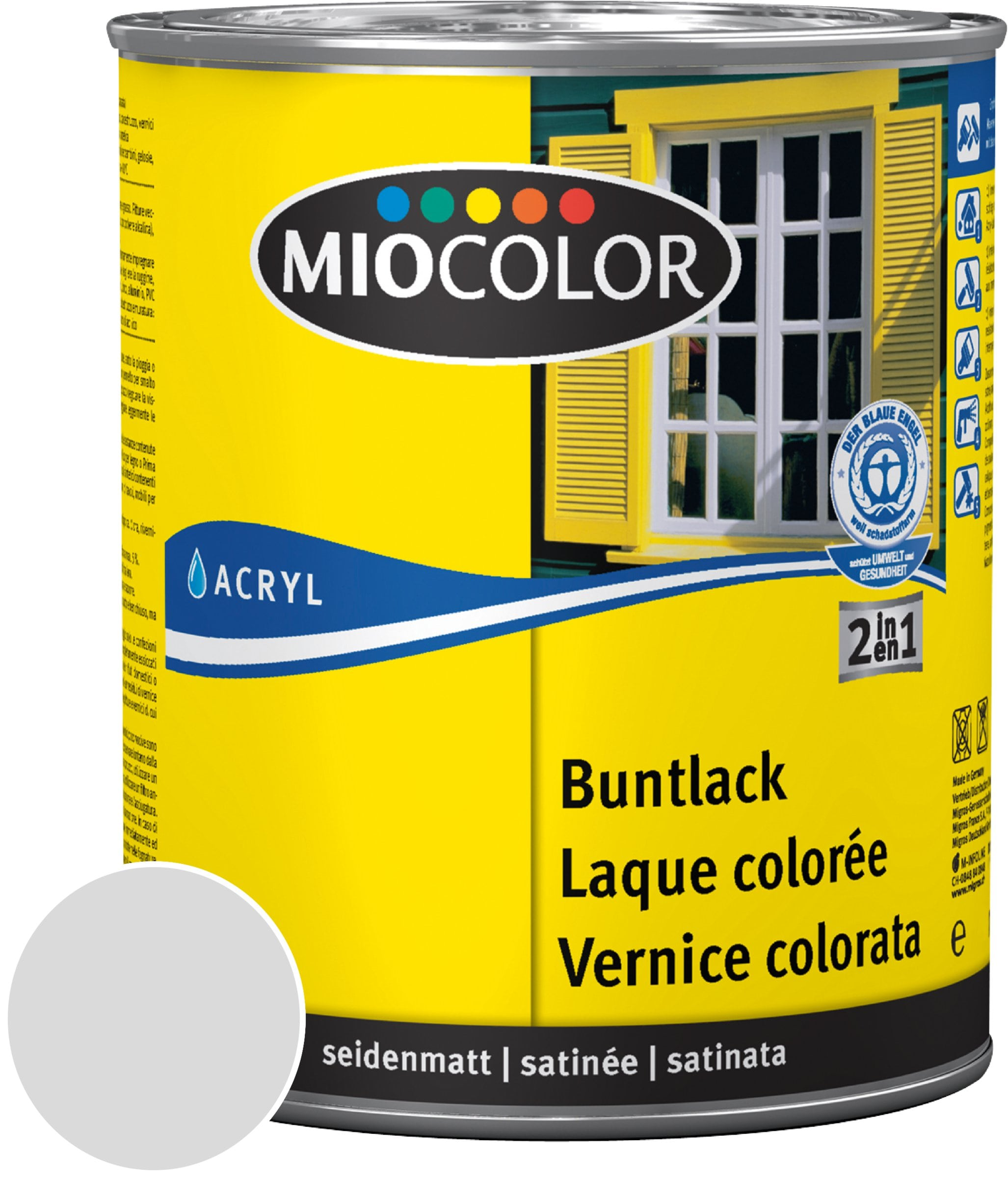Miocolor Acryl Vernice colorata satinata Grigio chiaro 750 ml