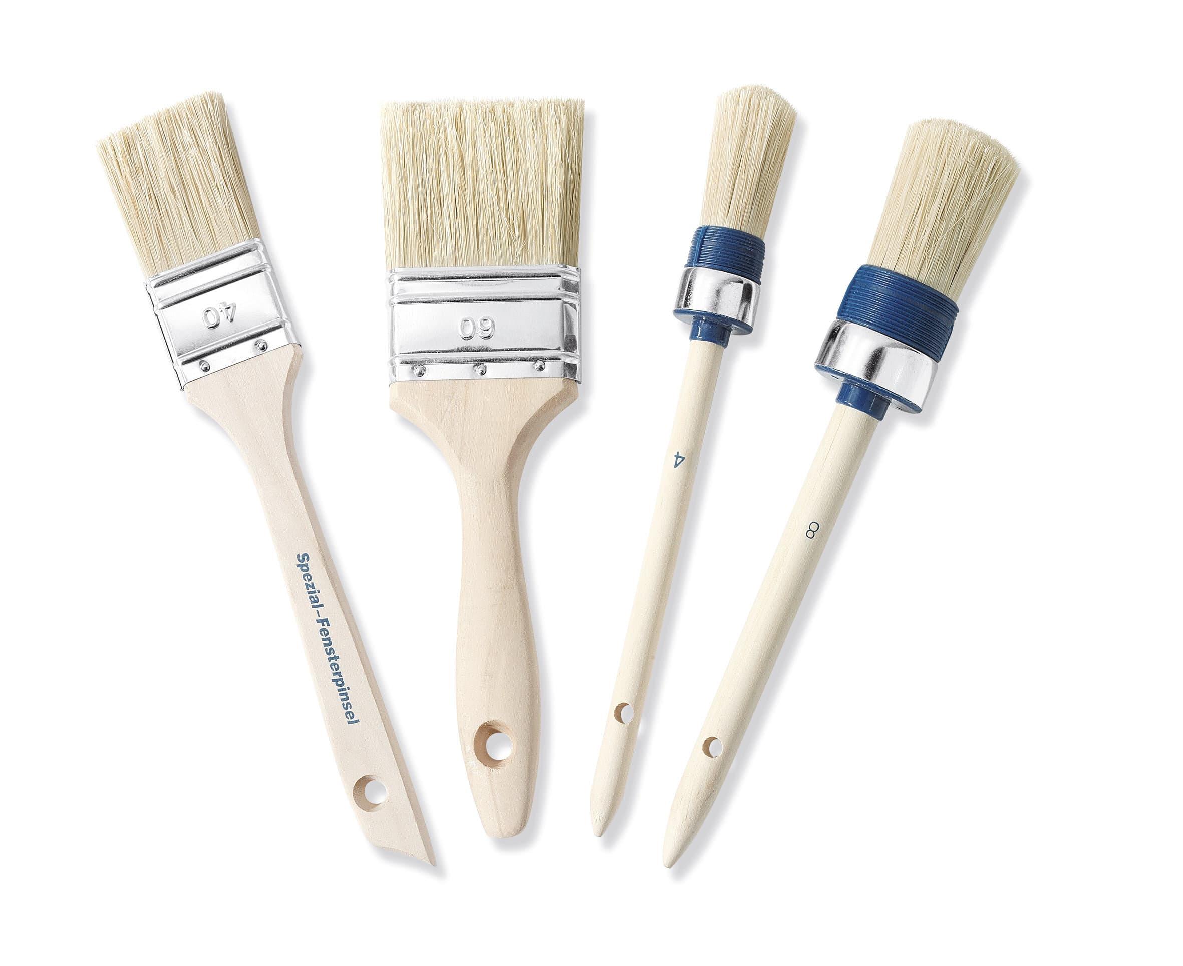 Color Expert Jeu 4 Pinceaux Fibre Synthétique, Bois