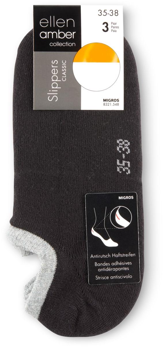 Ellen Amber Damen-Slipper-Socken im 3er-Pack, 3er-Pack.Bei allen Angeboten sind M-Budget und bereits reduzierte Artikel ausgenommen.