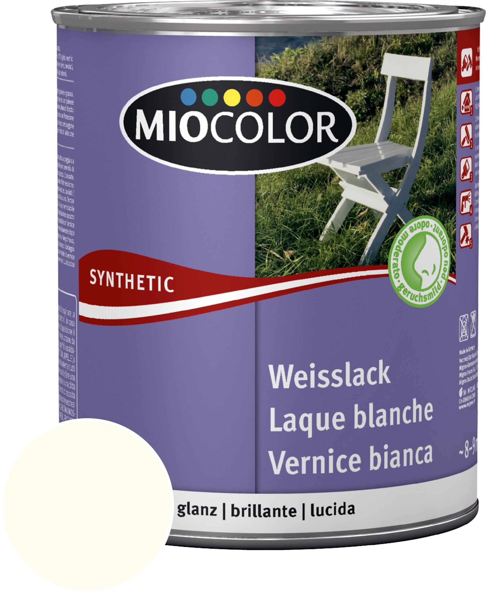 Miocolor Laque acrylique blanche brillante blanc ancien 750 ml