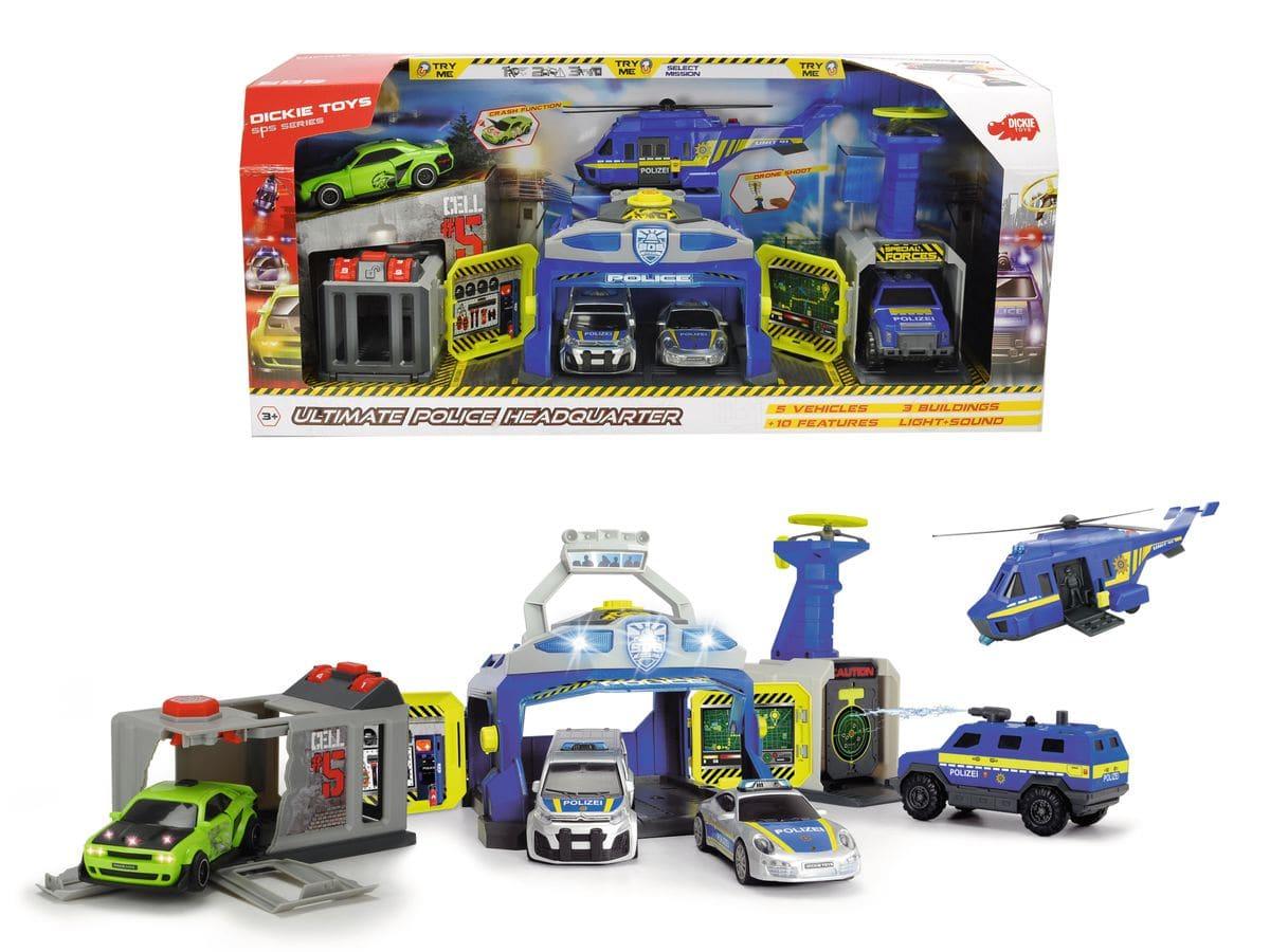 Dickie Toys Polizei-Spielset mit Kommandozentrale, Drohnenstarter, Shootingrange und Gefängnis Spielfahrzeug