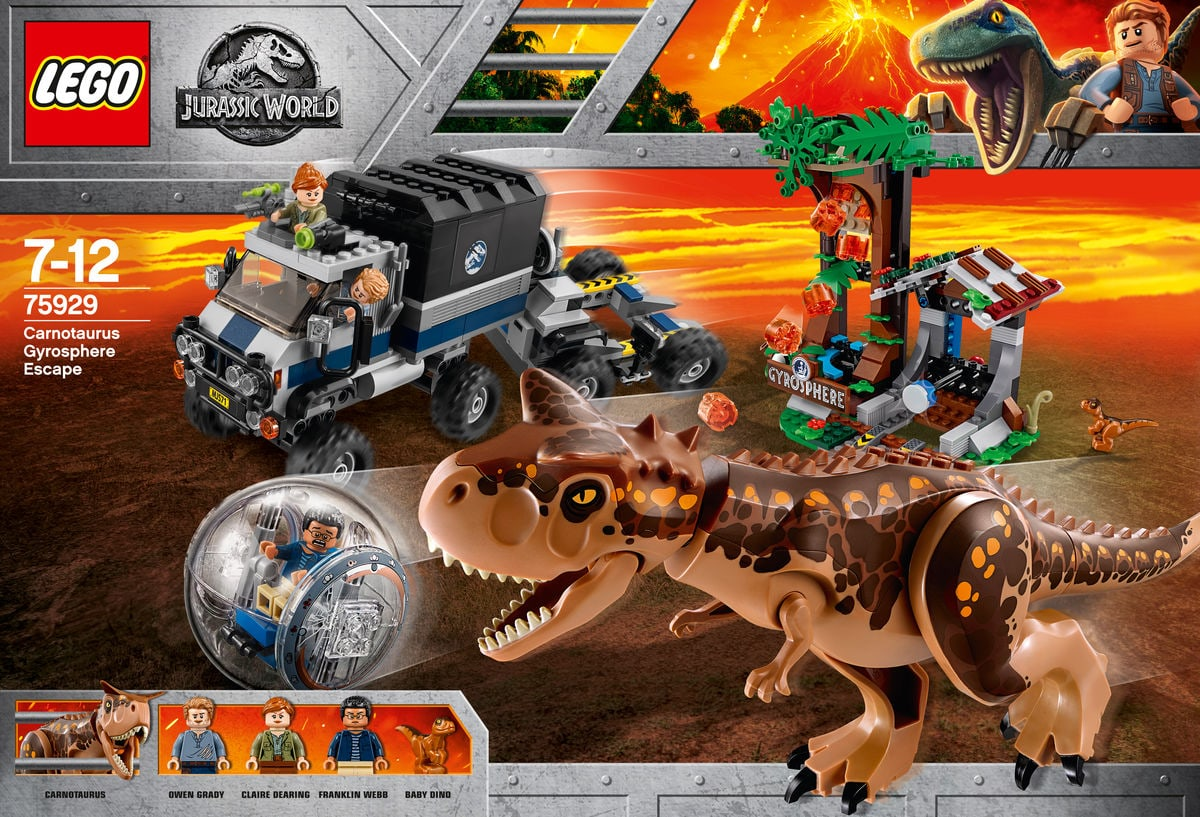 Lego Jurassic World Fuga dal Carnotaurus sulla girosfera 75929